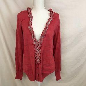Banana Republic Pink Ruffle Cardigan Sweater NWT
